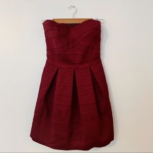 Burgundy Strapless Dress